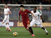 Calcio, Serie A: AS Roma - AC Milan, Roma, stadio Olimpico, 25 febbraio, 2018.<br /> Roma's Diego Perotti (l) in action with Milan's Frank Kessie (r) during the Italian Serie A football match between AS Roma and AC Milan at Rome's Olympic stadium, February 28, 2018.<br /> UPDATE IMAGES PRESS/Isabella Bonotto