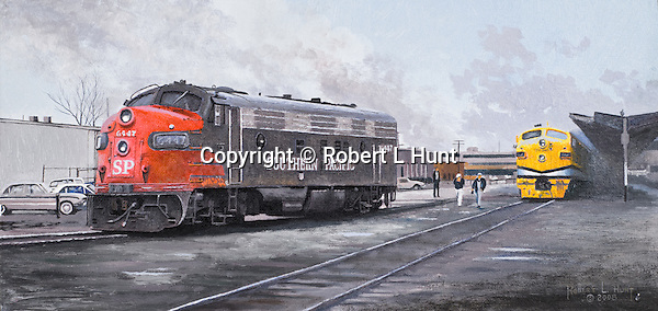 "A crew change coming for a single Southern Pacific Railroad F7A diesel locomotive showing some dirt and wear from long days working over the line, Ogden, Utah, railroad yard. Oil on canvas, 8"" x 16""."