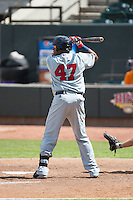 Mario Martinez (47) of the Salem Red Sox at bat against the Winston-Salem Dash at BB&T Ballpark on May 31, 2015 in Winston-Salem, North Carolina.  The Red Sox defeated the Dash 6-5.  (Brian Westerholt/Four Seam Images)