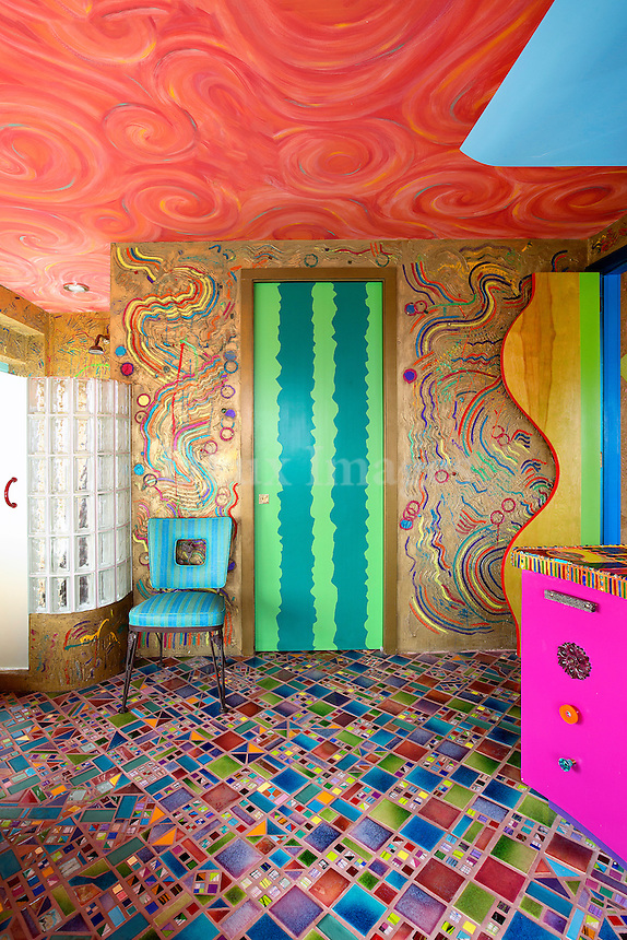funky colorful bathroom