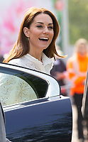 Duchess of Cambridge visits The Chelsea Flower Show. She visited the 'Back to Nature'' garden which she helped to design which has a treehouse and a swing.