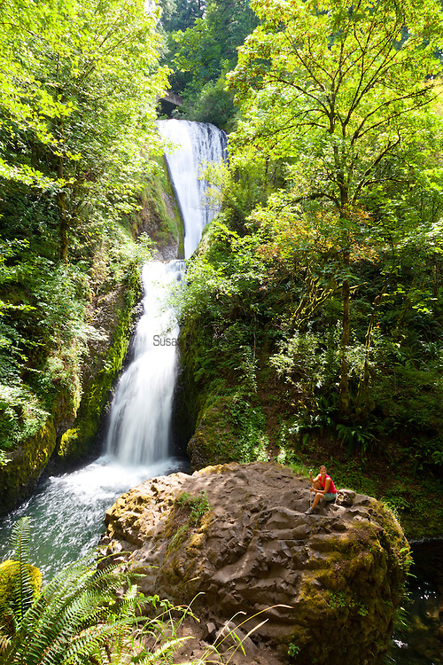 Bridal Veil Falls in the Columbia River Gorge, along the scenic Highway.