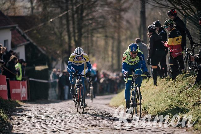 Ludwig De Winter (BEL/WB Aqua Protect-Veranclassic) & Edward Planckaert (BEL/Sport Vlaanderen-Baloise) up the Molenberg (cobbles)<br /> <br /> Omloop Het Nieuwsblad 2018<br /> Gent › Meerbeke: 196km (BELGIUM)