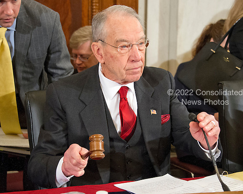 United States Senator Chuck Grassley (Republican of Iowa), Chairman of the US Senate Judiciary Committee, calls the confirmation hearing on the nomination of US Senator Jeff Sessions (Republican of Alabama) to be Attorney General of the United States to order on Capitol Hill in Washington, DC on Tuesday, January 10, 2017.<br /> Credit: Ron Sachs / CNP