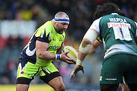 Vadim Cobilas of Sale Sharks in possession. Aviva Premiership match, between Leicester Tigers and Sale Sharks on February 6, 2016 at Welford Road in Leicester, England. Photo by: Patrick Khachfe / JMP