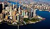 Aerial view of Battery Park, lower Manhattan, New York, New York