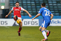 Lewis Coyle of Fleetwood Town and Callum Reilly of Gillingham during the Sky Bet League 1 match between Gillingham and Fleetwood Town at the MEMS Priestfield Stadium, Gillingham, England on 27 January 2018. Photo by David Horn.