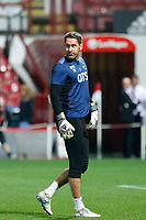 Scott Carson of Derby County seen warming up during the Sky Bet Championship match between Brentford and Derby County at Griffin Park, London, England on 26 September 2017. Photo by Carlton Myrie / PRiME Media Images.