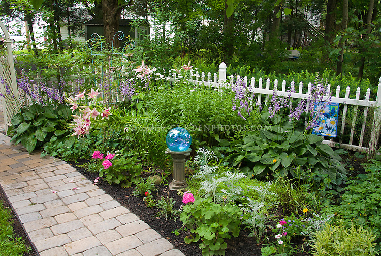 Awesome Shade Garden With Hostas, Lilies, Gazing Ball, White Picket Fence, Pathway