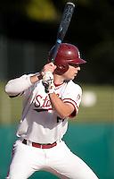 STANFORD, CA - April 12, 2011: Jake Stewart of Stanford baseball bats during Stanford's game against Pacific at Sunken Diamond. Stanford won 3-1.