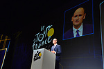 Jean-Etienne Amaury, President of Amaury Sport Organisation on stage at the Tour de France 2018 route presentation held at Palais de Congress, Paris, France. 17th October 2017.<br />