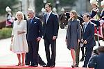 Crown Prince Felipe and Princess Letizia recieved Britain's Prince Carlos and his wife Camilla Parker Bowles at El Pardo Palace in Madrid, March 30, 2011...Photo: Cesar Cebolla/ ALFAQUI...
