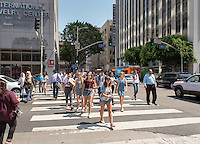 Incoming Occidental College students participate in Oxy Engage with the group LA Icons and walk around downtown Los Angeles on Aug. 24, 2016.<br /> Oxy Engage is a pre-orientation program that introduces incoming students to the vibrant city of Los Angeles. Upperclassmen facilitators lead trips to experience culture, film, food, nature, social justice, the urban environment, and much more.<br /> (Photo by Marc Campos, Occidental College Photographer)