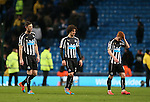 Dejected players Michael Williamson Fabrizo Coloccini and Jack Colback of Newcastle United - Barclays Premier League - Manchester City vs Newcastle Utd - Etihad Stadium - Manchester - England - 21st February 2015 - Picture Simon Bellis/Sportimage