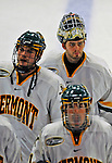 16 November 2008: University of Vermont Catamount goaltender Mike Spillane (left), a Junior from Bow, NH, leaves the ice after facing the Merrimack College Warriors at Gutterson Fieldhouse in Burlington, Vermont. The Catamounts defeated the Warriors 2-1 in Hockey East play...Mandatory Photo Credit: Ed Wolfstein Photo