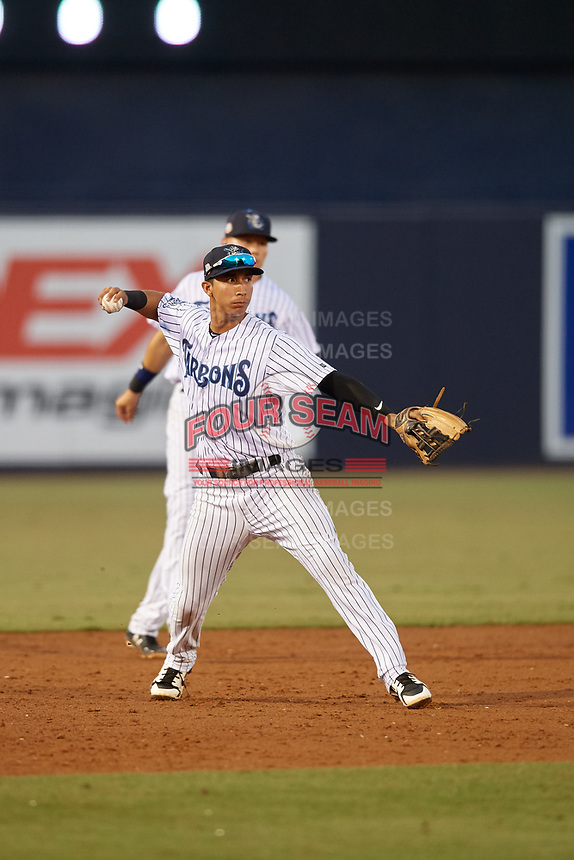 Tampa Tarpons third baseman Oswaldo Cabrera (3) throws to first base during a Florida State League game against the St. Lucie Mets on April 10, 2019 at George M. Steinbrenner Field in Tampa, Florida.  St. Lucie defeated Tampa 4-3.  (Mike Janes/Four Seam Images)
