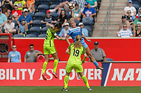 Bridgeview, IL - Sunday June 04, 2017: Carson Pickett, Alyssa Mautz during a regular season National Women's Soccer League (NWSL) match between the Chicago Red Stars and the Seattle Reign FC at Toyota Park. The Red Stars won 1-0.