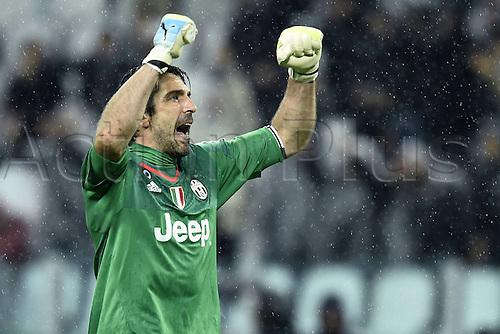 28.02.2016. Juventus Stadium, Turin, Italy. Serie A Football. Juventus versus Inter Milan. Gianluigi Buffon celebrates with the crowd after the game ends 2-0