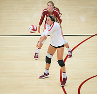 STANFORD, CA - September 9, 2018: Morgan Hentz, Kate Formico at Maples Pavilion. The Stanford Cardinal defeated #1 ranked Minnesota 3-1 in the Big Ten / PAC-12 Challenge.