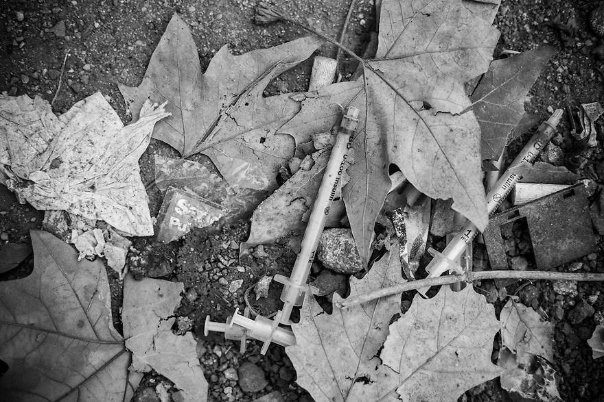 Discarded needles at a park near Gara de Nord in Bucharest.
