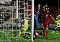 Exeter City's Jordan Moore-Taylor wheels away whilst the Crawley Town FC defence appeal against his goal during the Sky Bet League 2 match between Crawley Town and Exeter City at Broadfield Stadium, Crawley, England on 28 February 2017. Photo by Carlton Myrie / PRiME Media Images.