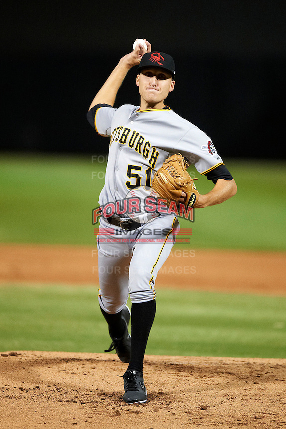 Scottsdale Scorpions pitcher Kyle Kaminska #51, of the Pittsburgh Pirates organization, during an Arizona Fall League game against the Salt River Rafters at Salt River Fields at Talking Stick on October 11, 2012 in Scottsdale, Arizona.  Salt River defeated Scottsdale 6-5.  (Mike Janes/Four Seam Images)