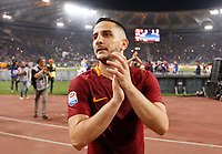 Calcio, Serie A: Roma vs Juventus. Roma, stadio Olimpico, 14 maggio 2017. <br /> Roma&rsquo;s Kostas Manolas greets fans at the end of the Italian Serie A football match between Roma and Juventus at Rome's Olympic stadium, 14 May 2017. Roma won 3-1.<br /> UPDATE IMAGES PRESS/Riccardo De Luca