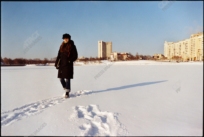 Tatiana Khorna, fourth year student at the Belarussian State University of Economics; she was expelled from university because she attended a meeting in France of the National Unions of Students in Europe; she is photographed on a frozen lake in central Minsk, Belarus, January 2006.