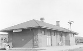 D&amp;RGW Antonito depot looking at northwest corner.  The last &quot;Chile Line&quot; train is on the east side of the depot.<br /> D&amp;RGW  Antonito, CO  8/30/1941