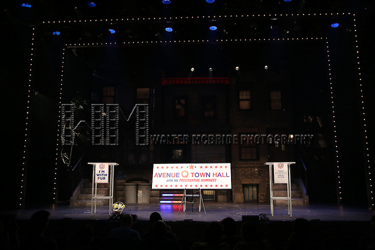 """The cast of """"Avenue Q"""" Hosts Town Hall With A Debate Between Puppets Hillary Clinton, """"I'm with Fur"""" played by Maggie Lakis & Donald Trump, """"Make Puppets Great Again"""" played by Rob McClure at the New World Stages on September 26, 2016 in New York City."""