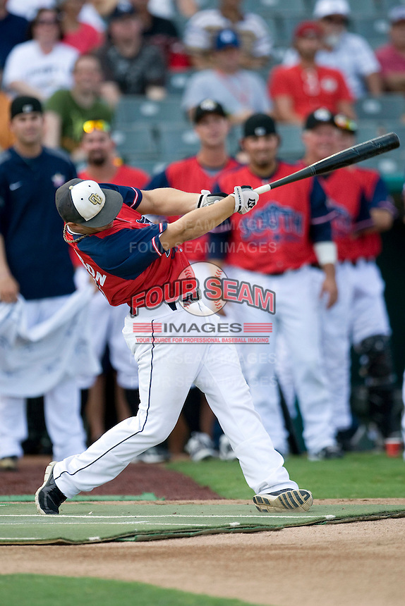 San Antonio high schooler Landon Thompson in the home run derby before the Texas League All Star Game played on June 29, 2011 at Nelson Wolff Stadium in San Antonio, Texas. Using a aluminum bat, Thompson won the contest competing against professional baseball players. (Andrew Woolley / Four Seam Images)