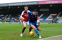 Rochdale's Ian Henderson battles with Fleetwood Town's Jason Holt<br /> <br /> Photographer Hannah Fountain/CameraSport<br /> <br /> The EFL Sky Bet League One - Rochdale v Fleetwood Town - Saturday 19 January 2019 - Spotland Stadium - Rochdale<br /> <br /> World Copyright © 2019 CameraSport. All rights reserved. 43 Linden Ave. Countesthorpe. Leicester. England. LE8 5PG - Tel: +44 (0) 116 277 4147 - admin@camerasport.com - www.camerasport.com