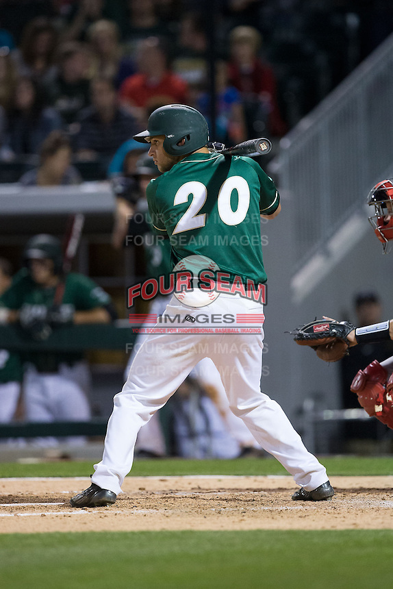 Nick Daddio (20) of the Charlotte 49ers at bat against the North Carolina State Wolfpack at BB&T Ballpark on March 31, 2015 in Charlotte, North Carolina.  The Wolfpack defeated the 49ers 10-6.  (Brian Westerholt/Four Seam Images)