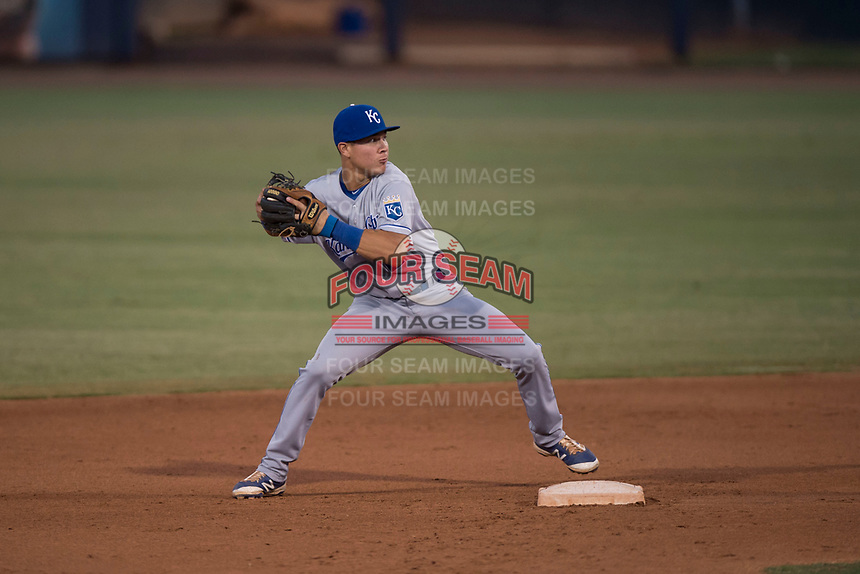 AZL Mariners second baseman Kember Nacero (2) attempts to turn a double play during an Arizona League game against the AZL Royals at Peoria Sports Complex on July 25, 2018 in Peoria, Arizona. The AZL Mariners defeated the AZL Royals 5-3. (Zachary Lucy/Four Seam Images)