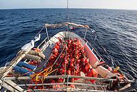 Sea Watch-2.<br /> Nach 4 Tagen im EInsatz hat die Sea Watch-2 Crew bei ihrer 13. SAR-Mission vor der libyschen Kueste bei Rettungsmissionen benutze Schwimmwesten gewaschen, desinfiziert und zum trocknen an Deck aufgehaengt.<br /> 24.10.2016, Mediterranean Sea<br /> Copyright: Christian-Ditsch.de<br /> [Inhaltsveraendernde Manipulation des Fotos nur nach ausdruecklicher Genehmigung des Fotografen. Vereinbarungen ueber Abtretung von Persoenlichkeitsrechten/Model Release der abgebildeten Person/Personen liegen nicht vor. NO MODEL RELEASE! Nur fuer Redaktionelle Zwecke. Don't publish without copyright Christian-Ditsch.de, Veroeffentlichung nur mit Fotografennennung, sowie gegen Honorar, MwSt. und Beleg. Konto: I N G - D i B a, IBAN DE58500105175400192269, BIC INGDDEFFXXX, Kontakt: post@christian-ditsch.de<br /> Bei der Bearbeitung der Dateiinformationen darf die Urheberkennzeichnung in den EXIF- und  IPTC-Daten nicht entfernt werden, diese sind in digitalen Medien nach §95c UrhG rechtlich geschuetzt. Der Urhebervermerk wird gemaess §13 UrhG verlangt.]