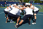 DURHAM, NC - APRIL 14: Notre Dame players huddle before the match. The Duke University Blue Devils hosted the University of Notre Dame Fighting Irish on April 14, 2017, at Ambler Tennis Stadium in Durham, NC in a Division I College Men's Tennis match. Duke won the match 4-3.