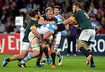 ENG - London, England, October 30: During the bronze medal match between South Africa (green/gold) and Argentina (blue/white) on October 30, 2015 at The Stadium, Queen Elizabeth Olympic Park in London, England. Final score 24-13 (HT 16-0). (Photo by Dirk Markgraf / www.265-images.com) *** Local caption *** (L-R) Frans Malherbe #3 of South Africa, Schalk Burger #7 of South Africa, Tomas Lavanini #5 of Argentina, Duane Vermeulen #8 of South Africa