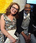 "Elaine Shannon with Community organizer Mel King, during ""The Greatest Party on Earth"", benefiting Artists For Humanity, Saturday April 25, 2015, at the EpiCenter in South Boston. Boston Herald Photo by Jim Michaud"