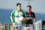 Pa Wren Milltown-Castlemaine in action against Brendan Poff Saint Brendans in the First Round of the Kerry Senior Football Championship at Milltown on Sunday.