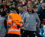 A very happy Jurgen Klopp manager of Liverpool following their second goal during the Champions League Group E match at the Anfield Stadium, Liverpool. Picture date 13th September 2017. Picture credit should read: Simon Bellis/Sportimage