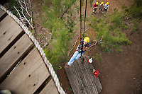 Looking down from one of the many platforms while ziplining on the Big island with Kohala zipline