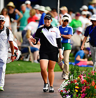 Ariya Juntanugarn of Thailand walks to the 18th green  during the final round of the ANA Inspiration at the Mission Hills Country Club in Palm Desert, California, USA. 4/1/18.<br /> <br /> Picture: Golffile | Bruce Sherwood<br /> <br /> <br /> All photo usage must carry mandatory copyright credit (&copy; Golffile | Bruce Sherwood)