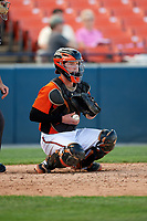 Frederick Keys catcher Stuart Levy (18) during the first game of a doubleheader against the Lynchburg Hillcats on June 12, 2018 at Nymeo Field at Harry Grove Stadium in Frederick, Maryland.  Frederick defeated Lynchburg 2-1.  (Mike Janes/Four Seam Images)