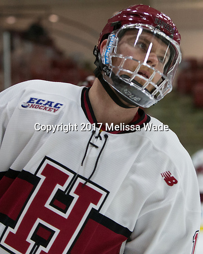 Sean Malone (Harvard - 17) - The Harvard University Crimson defeated the St. Lawrence University Saints 6-3 (EN) to clinch the ECAC playoffs first seed and a share in the regular season championship on senior night, Saturday, February 25, 2017, at Bright-Landry Hockey Center in Boston, Massachusetts.