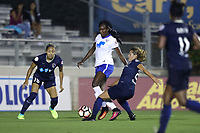 Cary, North Carolina  - Saturday June 17, 2017: Ifeoma Onumonu is defended by Meredith Speck and Jaelene Hinkle during a regular season National Women's Soccer League (NWSL) match between the North Carolina Courage and the Boston Breakers at Sahlen's Stadium at WakeMed Soccer Park. The Courage won the game 3-1.