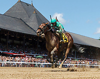 Ragnar Lothbrok (no. 4) wns Race 3, Aug. 4, 2018 at the Saratoga Race Course, Saratoga Springs, NY.  Ridden by David Cohen and trained by Gary Gullo, Ragnar Lothbrok finished 3/4 lengths in front of Our American Star (no. 3).  (Photo credit: Bruce Dudek/Eclipse Sportswire)