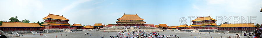 180 degree panorama of Forbidden City plaza in Beijing, China<br />