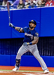 25 March 2019: Milwaukee Brewers designated hitter Eric Thames at bat during an exhibition game against the Toronto Blue Jays at Olympic Stadium in Montreal, Quebec, Canada. The Brewers defeated the Blue Jays 10-5 in the first of two MLB pre-season games in the former home of the Montreal Expos. Mandatory Credit: Ed Wolfstein Photo *** RAW (NEF) Image File Available ***