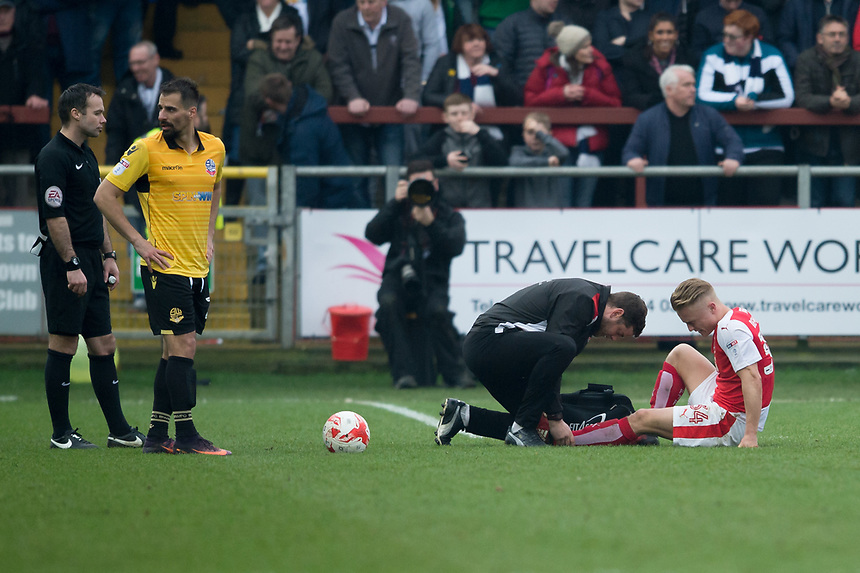 Fleetwood Town's Kyle Dempsey receives treatment<br /> <br /> Photographer Terry Donnelly/CameraSport<br /> <br /> The EFL Sky Bet League One - Fleetwood Town v Bolton Wanderers - Saturday 11th March 2017 - Highbury Stadium - Fleetwood<br /> <br /> World Copyright &copy; 2017 CameraSport. All rights reserved. 43 Linden Ave. Countesthorpe. Leicester. England. LE8 5PG - Tel: +44 (0) 116 277 4147 - admin@camerasport.com - www.camerasport.com