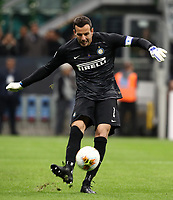 Calcio, Serie A: Inter Milano - Juventus, Giuseppe Meazza stadium, October 6 2019.<br /> Inter's goalkeeper Samir Handanovic in action during the Italian Serie A football match between Inter and Juventus at Giuseppe Meazza (San Siro) stadium, October 6, 2019.<br /> UPDATE IMAGES PRESS/Isabella Bonotto